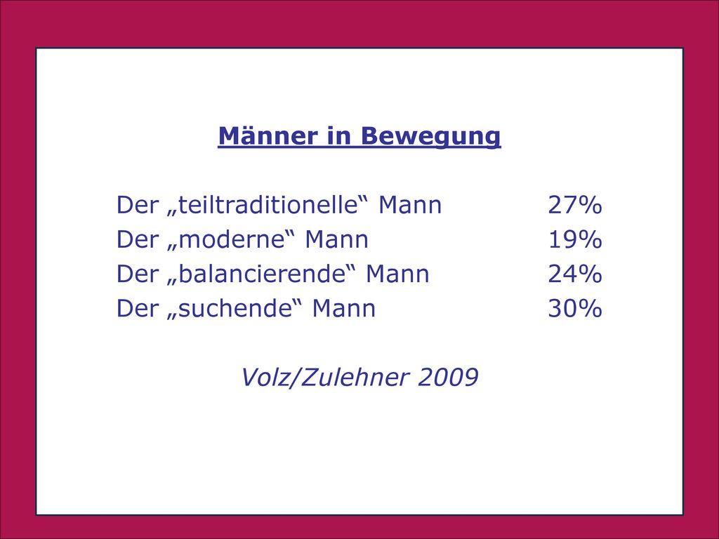 """. Männer in Bewegung Der """"teiltraditionelle Mann 27%"""