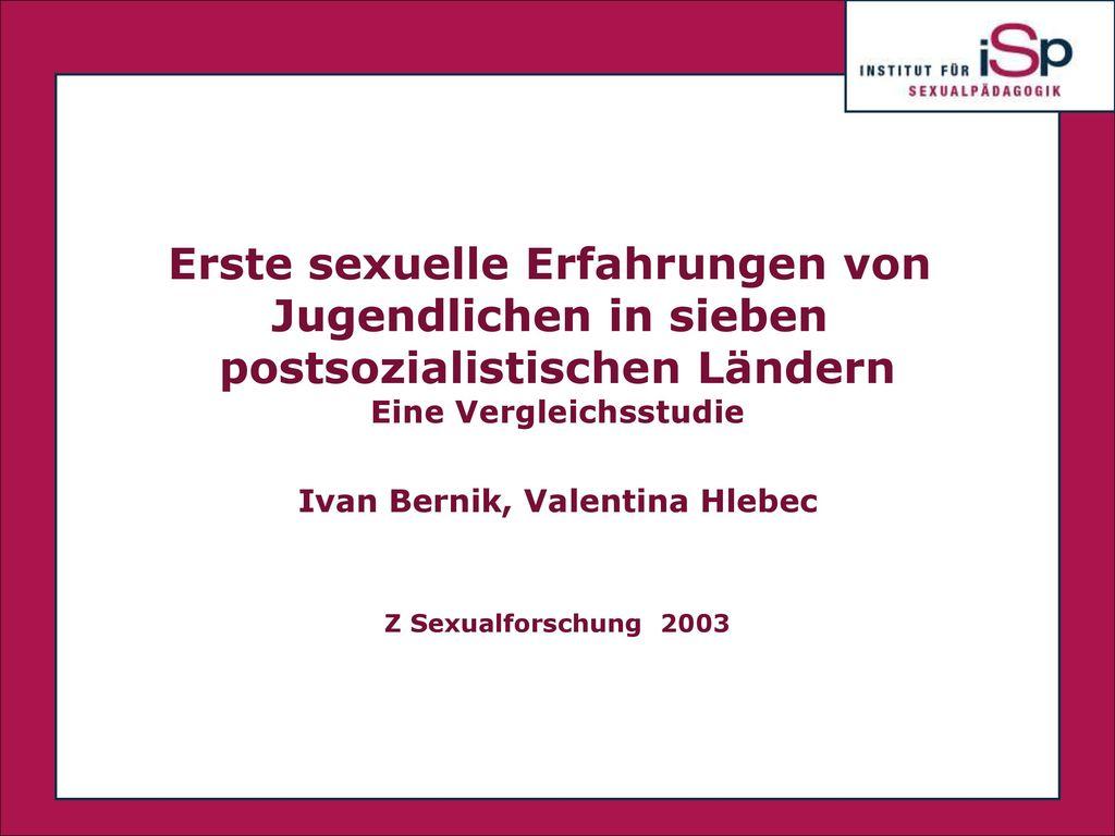 Erste sexuelle Erfahrungen von Jugendlichen in sieben