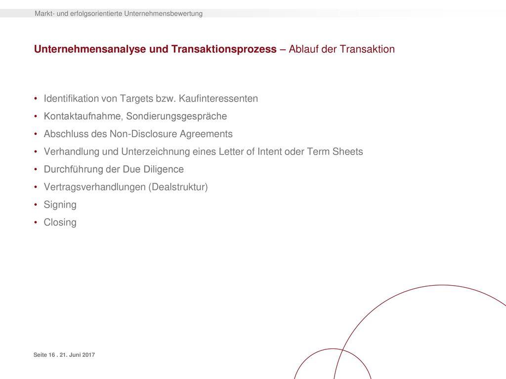 Unternehmensanalyse und Transaktionsprozess – Ablauf der Transaktion