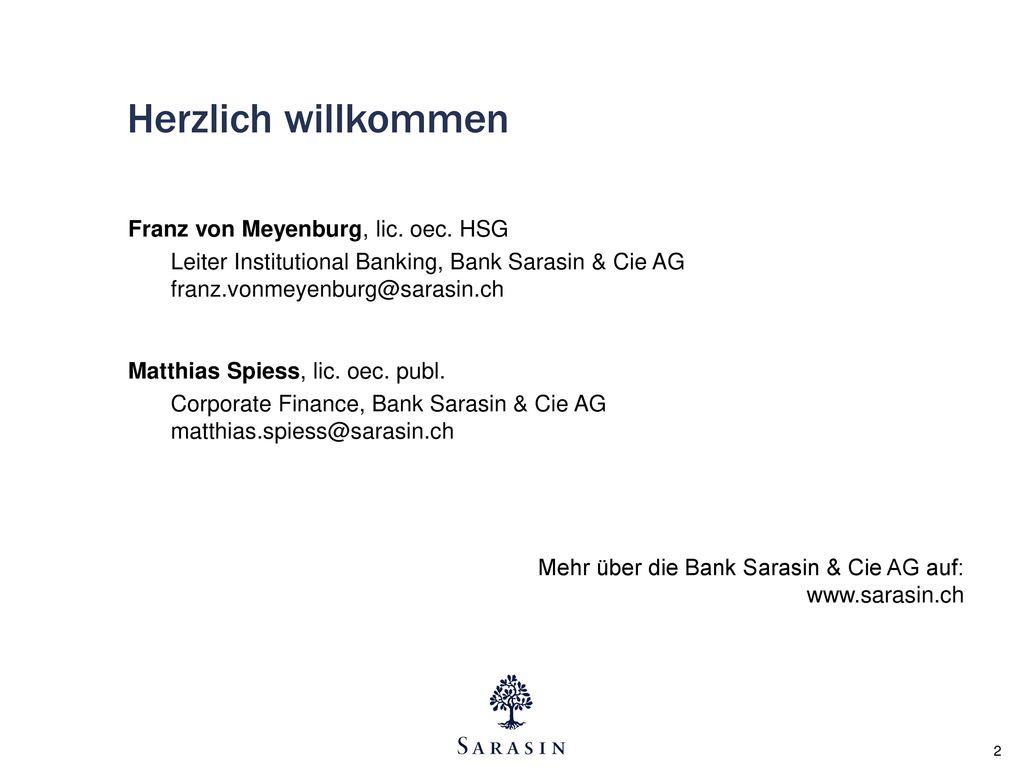 Herzlich willkommen Franz von Meyenburg, lic. oec. HSG