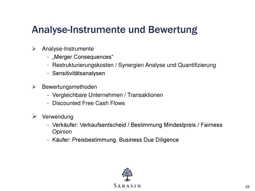 Analyse-Instrumente und Bewertung