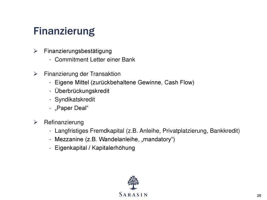 Finanzierung Finanzierungsbestätigung Commitment Letter einer Bank