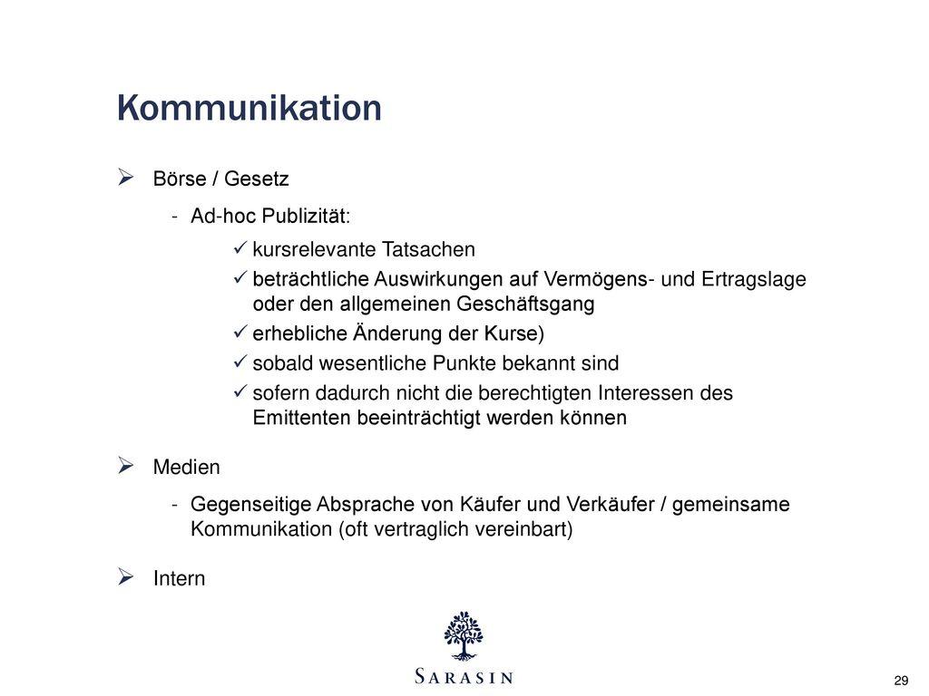 Kommunikation Börse / Gesetz Ad-hoc Publizität: