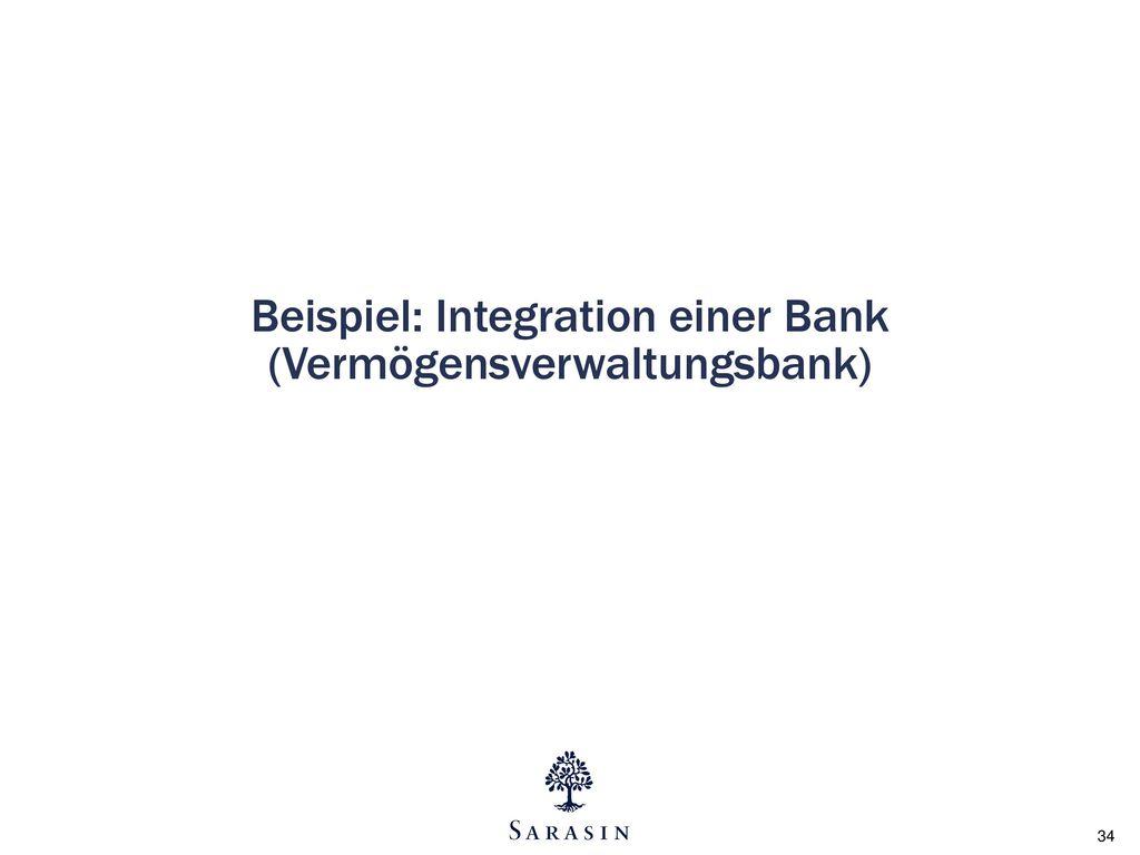 Beispiel: Integration einer Bank (Vermögensverwaltungsbank)