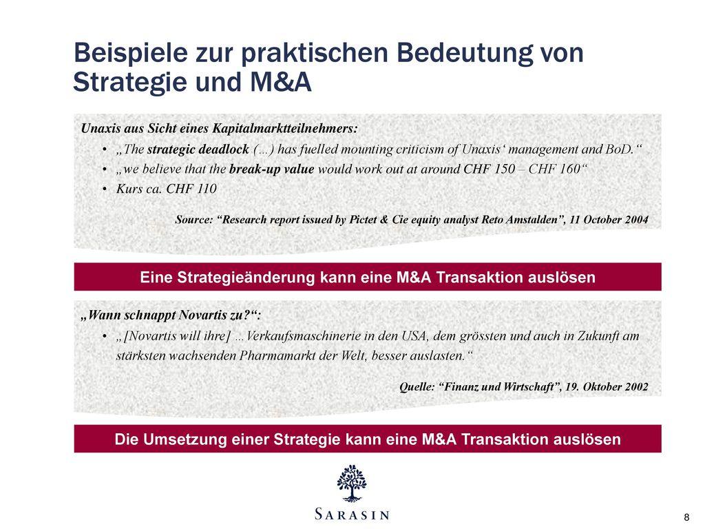 Beispiele zur praktischen Bedeutung von Strategie und M&A
