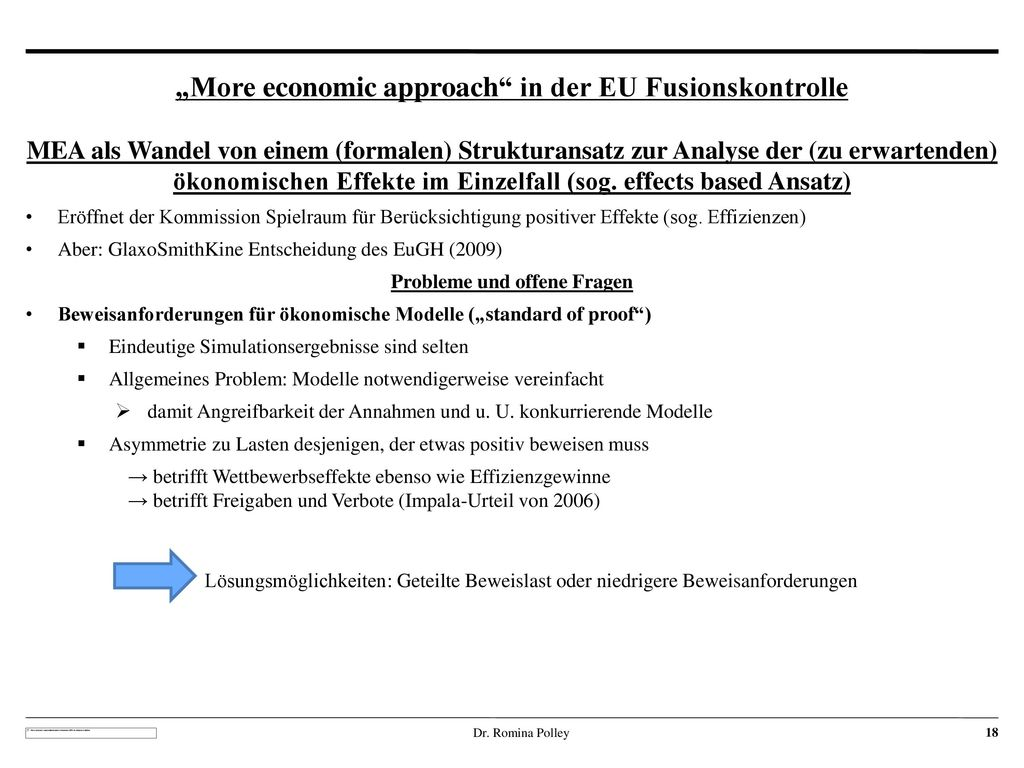 """More economic approach in der EU Fusionskontrolle"
