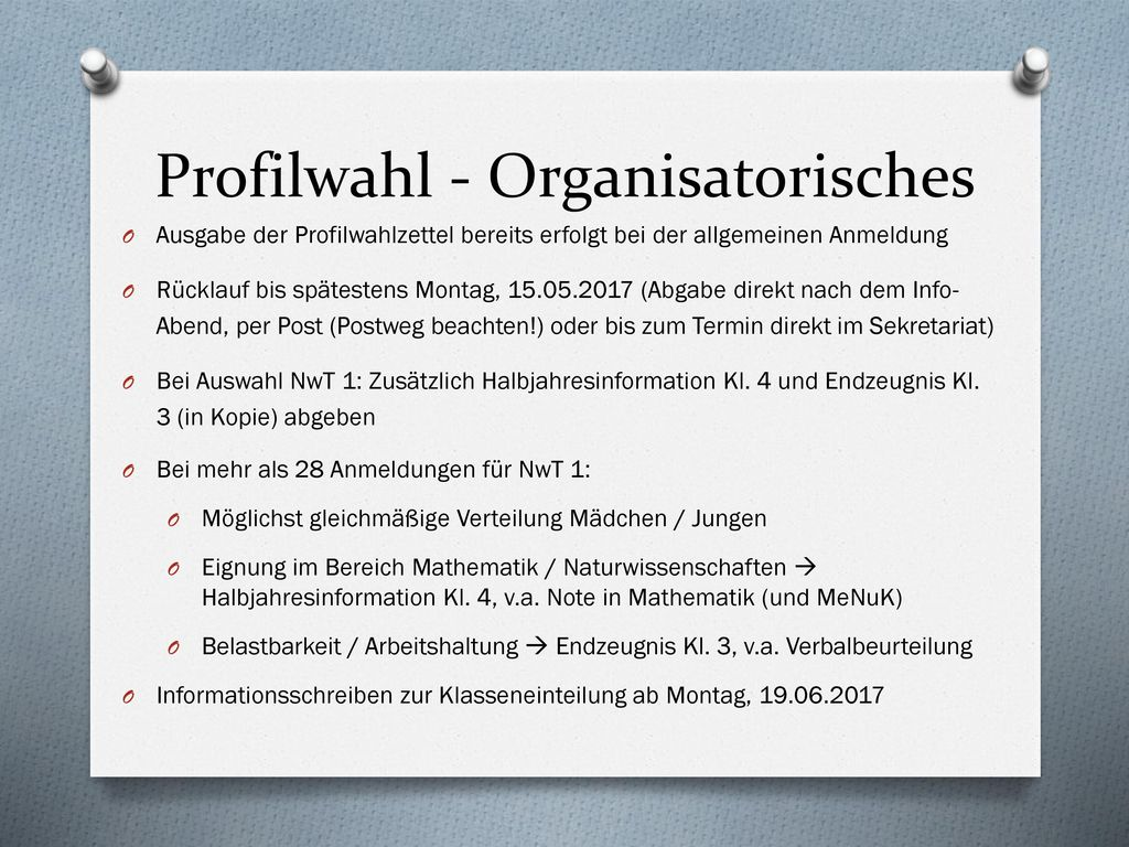 Profilwahl - Organisatorisches