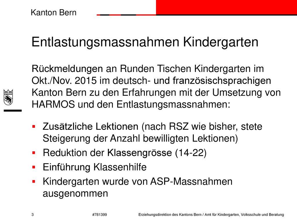 Entlastungsmassnahmen Kindergarten