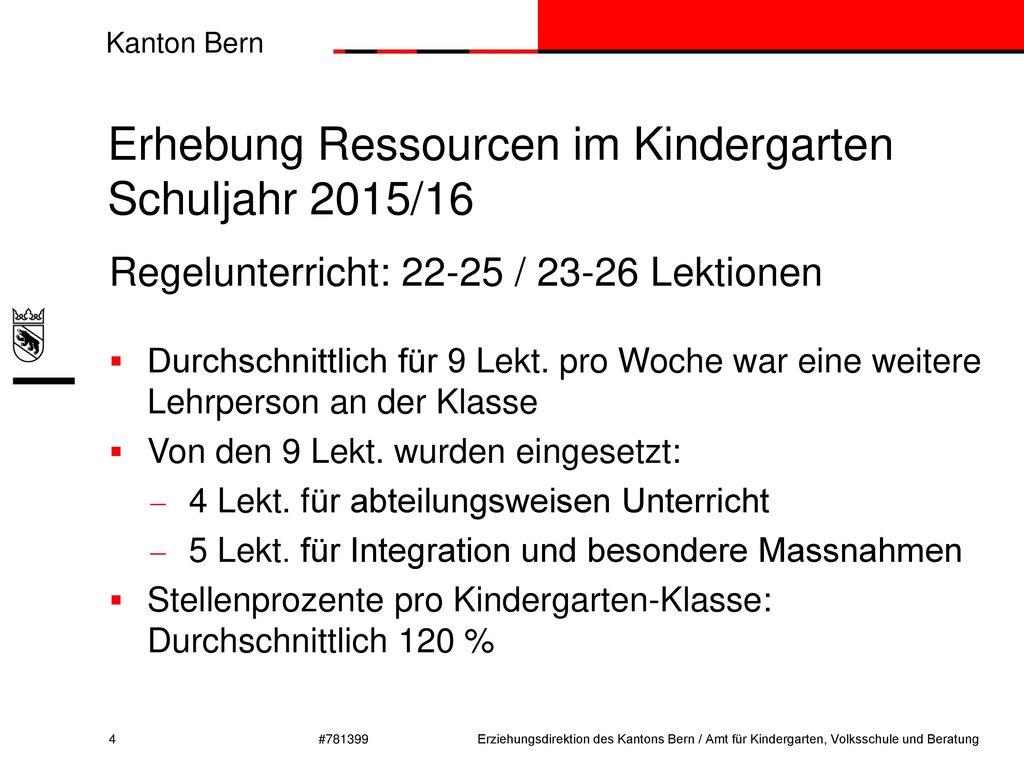 Erhebung Ressourcen im Kindergarten Schuljahr 2015/16
