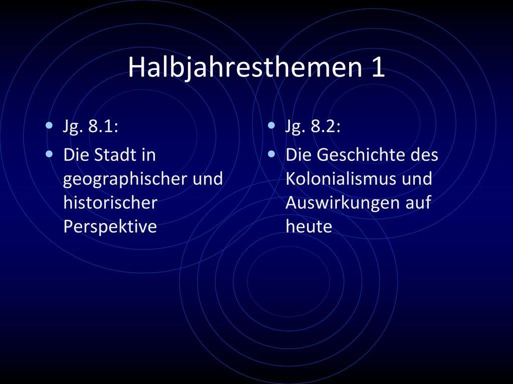 Halbjahresthemen 1 Jg. 8.1: Die Stadt in geographischer und historischer Perspektive. Jg. 8.2: