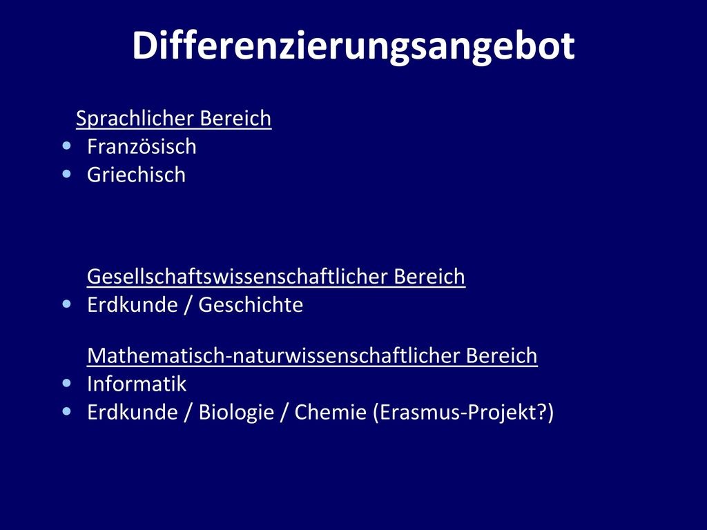 Differenzierungsangebot