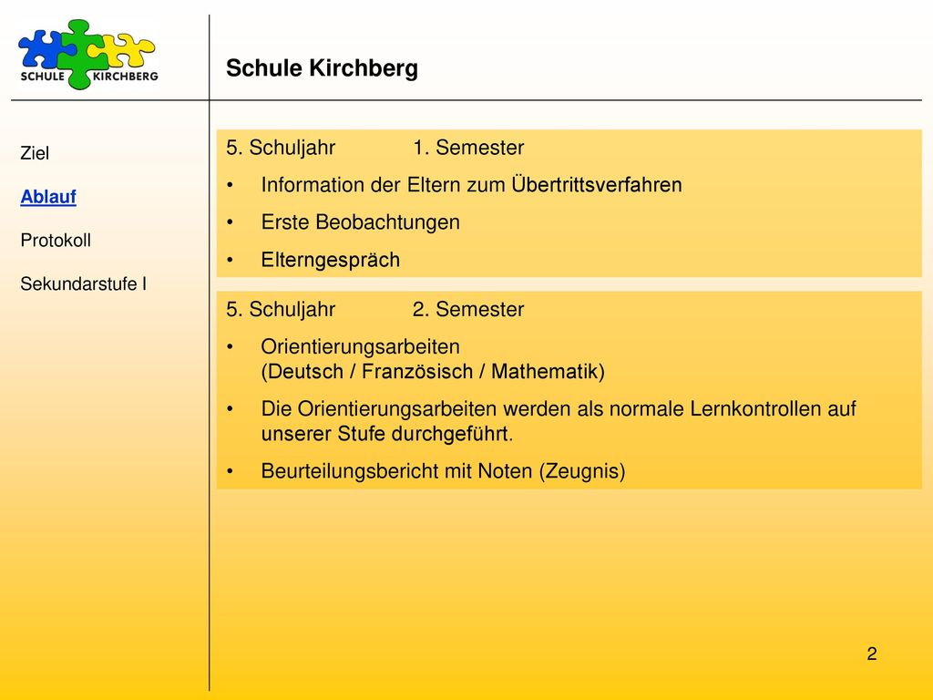 Schule Kirchberg 5. Schuljahr 1. Semester