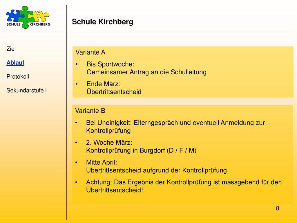 Schule Kirchberg Variante A