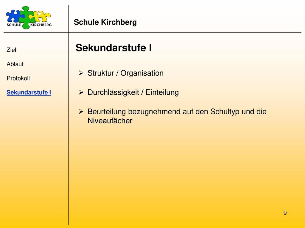Sekundarstufe I Schule Kirchberg Struktur / Organisation