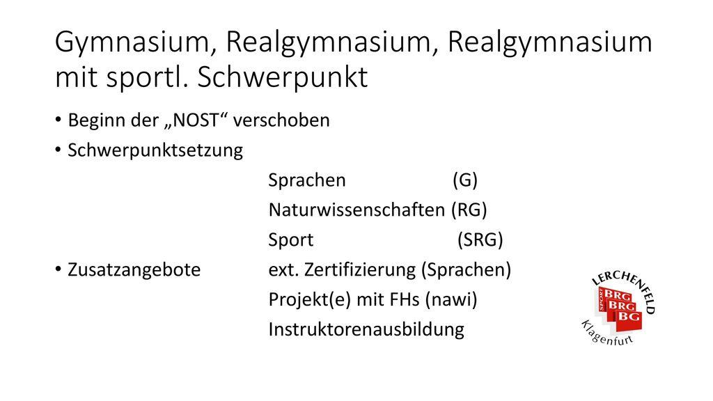 Gymnasium, Realgymnasium, Realgymnasium mit sportl. Schwerpunkt