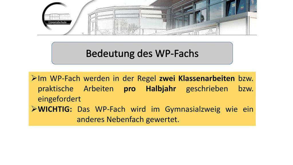 Bedeutung des WP-Fachs