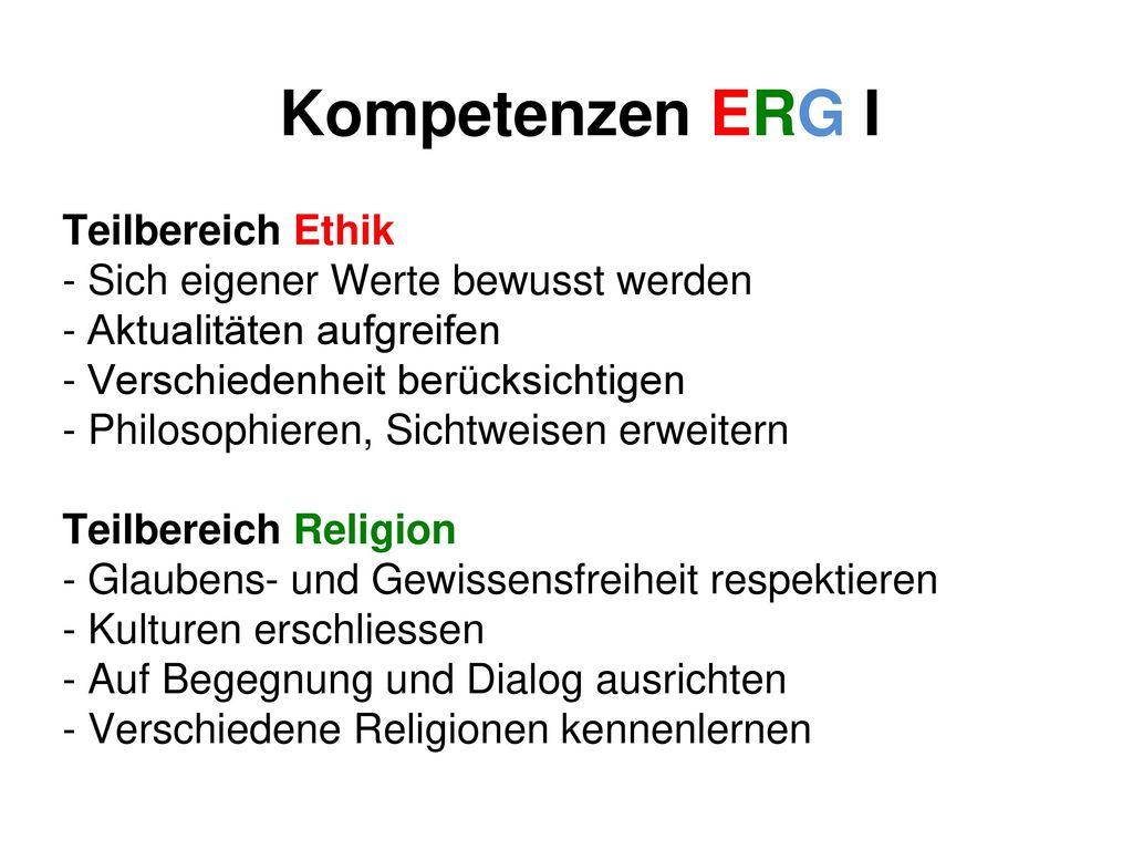 Kompetenzen ERG I Teilbereich Ethik
