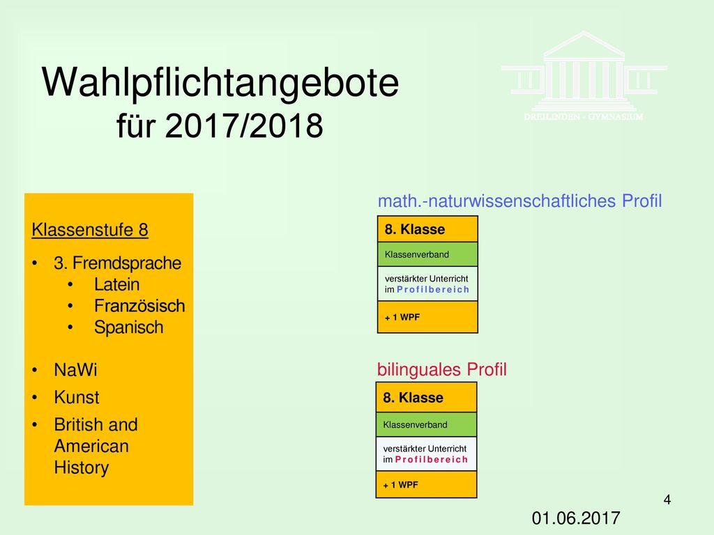 Wahlpflichtangebote für 2017/2018