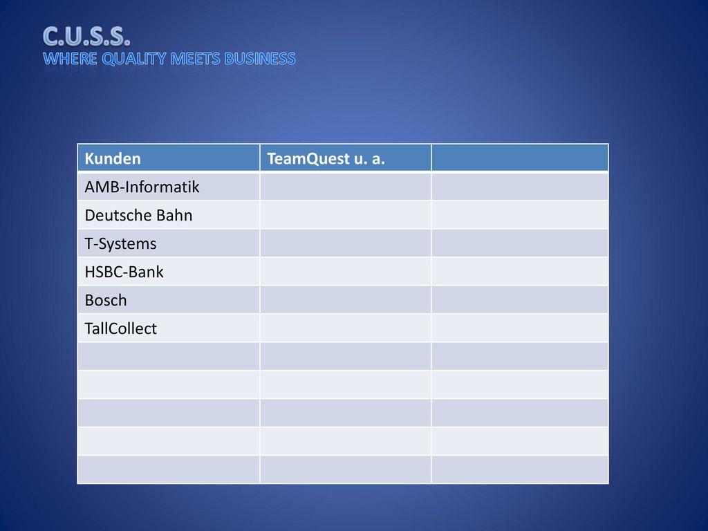 Kunden TeamQuest u. a. AMB-Informatik Deutsche Bahn T-Systems HSBC-Bank Bosch TallCollect