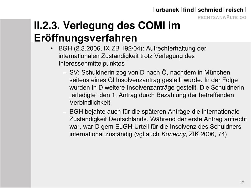 II.2.3. Verlegung des COMI im Eröffnungsverfahren