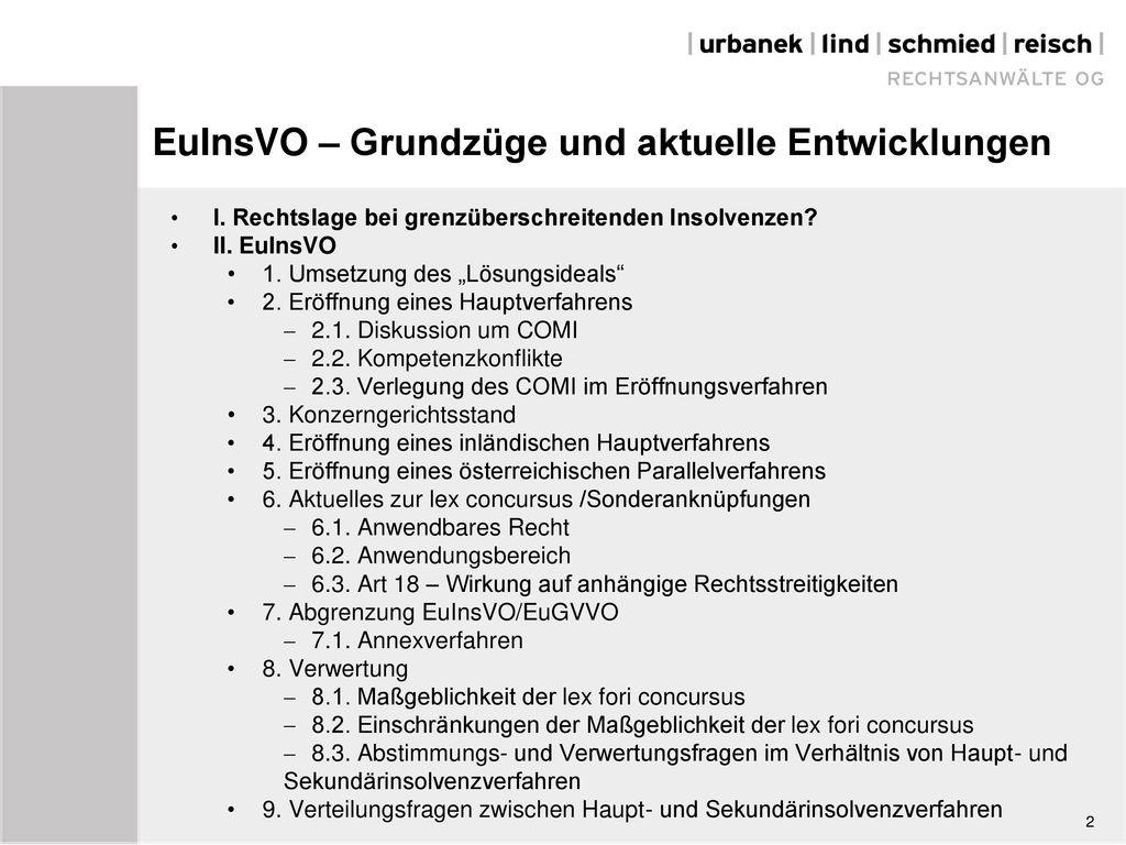 EuInsVO – Grundzüge und aktuelle Entwicklungen
