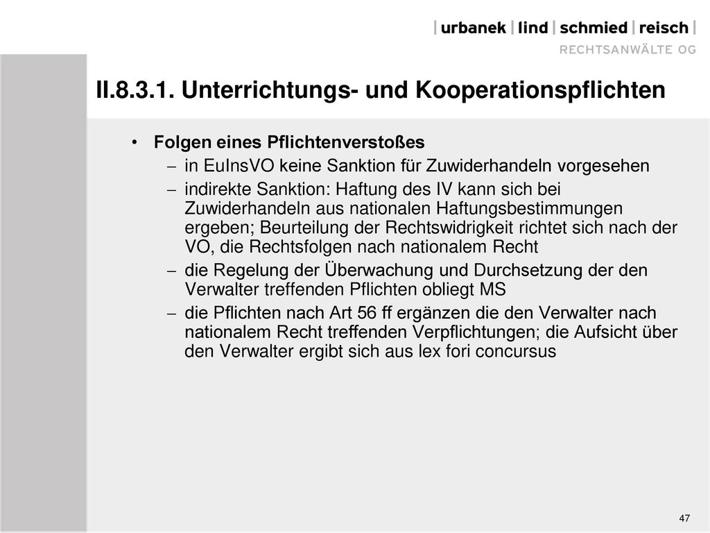 II.8.3.1. Unterrichtungs- und Kooperationspflichten