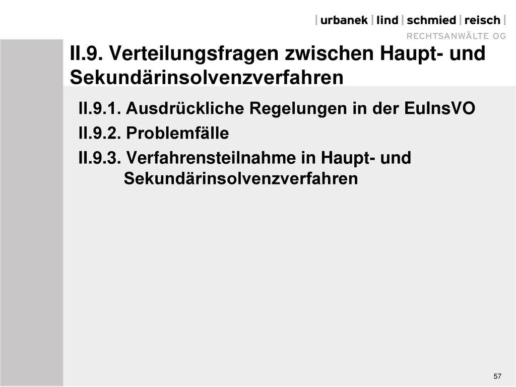 II.9. Verteilungsfragen zwischen Haupt- und Sekundärinsolvenzverfahren
