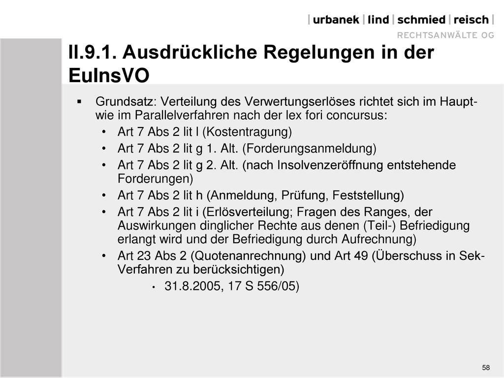 II.9.1. Ausdrückliche Regelungen in der EuInsVO