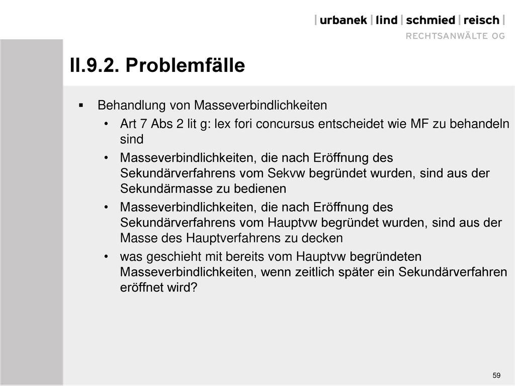 II.9.2. Problemfälle Behandlung von Masseverbindlichkeiten