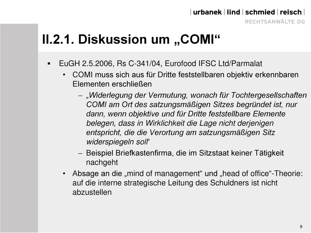 "II.2.1. Diskussion um ""COMI"