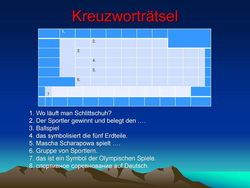 Kreuzworträtsel 1. Wo läuft man Schlittschuh