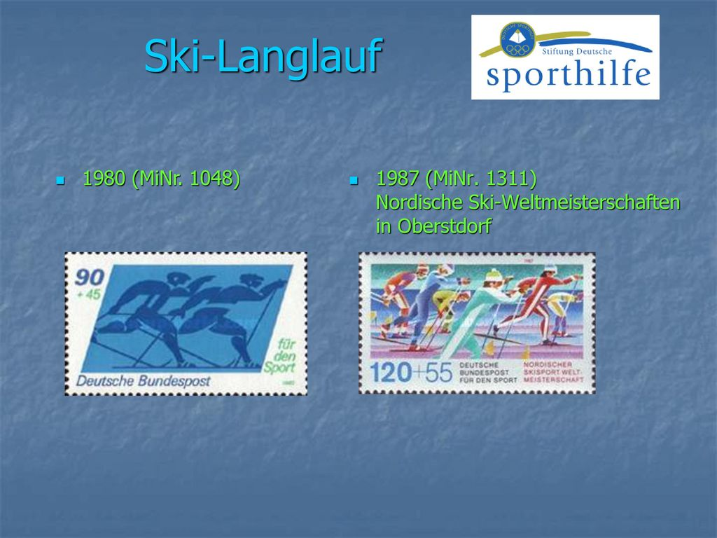 Ski-Langlauf 1980 (MiNr. 1048) 1987 (MiNr. 1311) Nordische Ski-Weltmeisterschaften in Oberstdorf