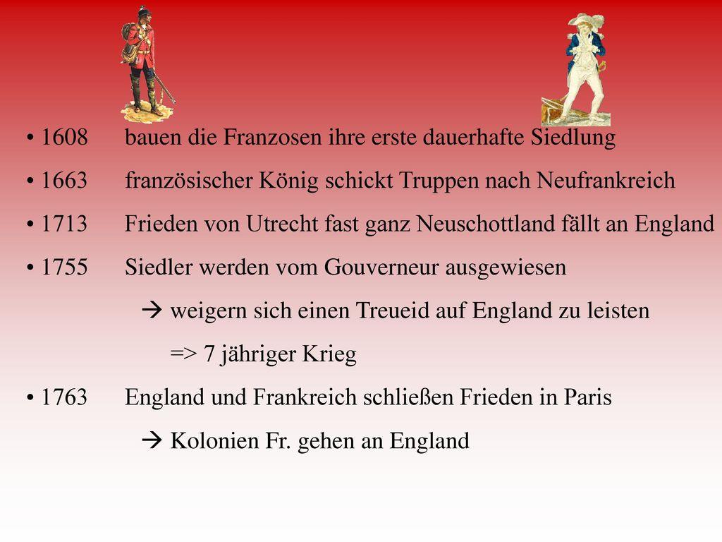 1608 bauen die Franzosen ihre erste dauerhafte Siedlung
