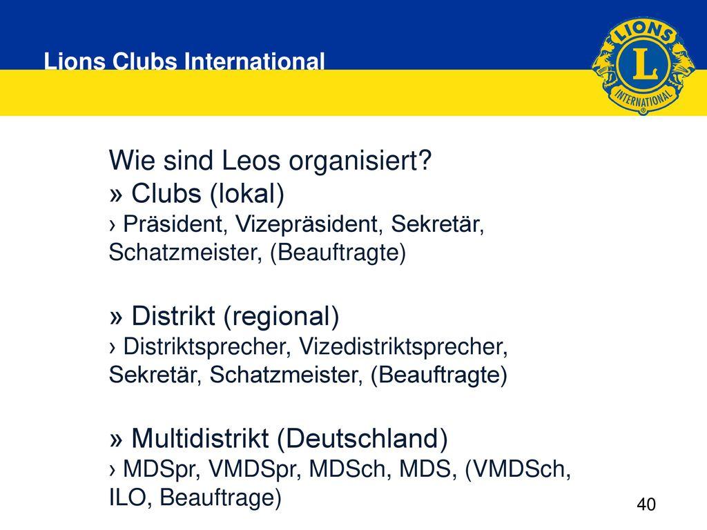 Wie sind Leos organisiert » Clubs (lokal)