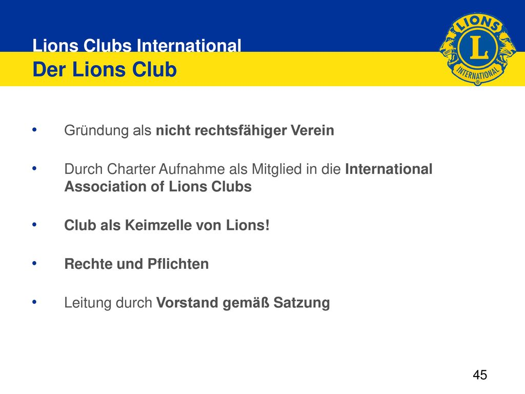 Der Lions Club Gründung als nicht rechtsfähiger Verein