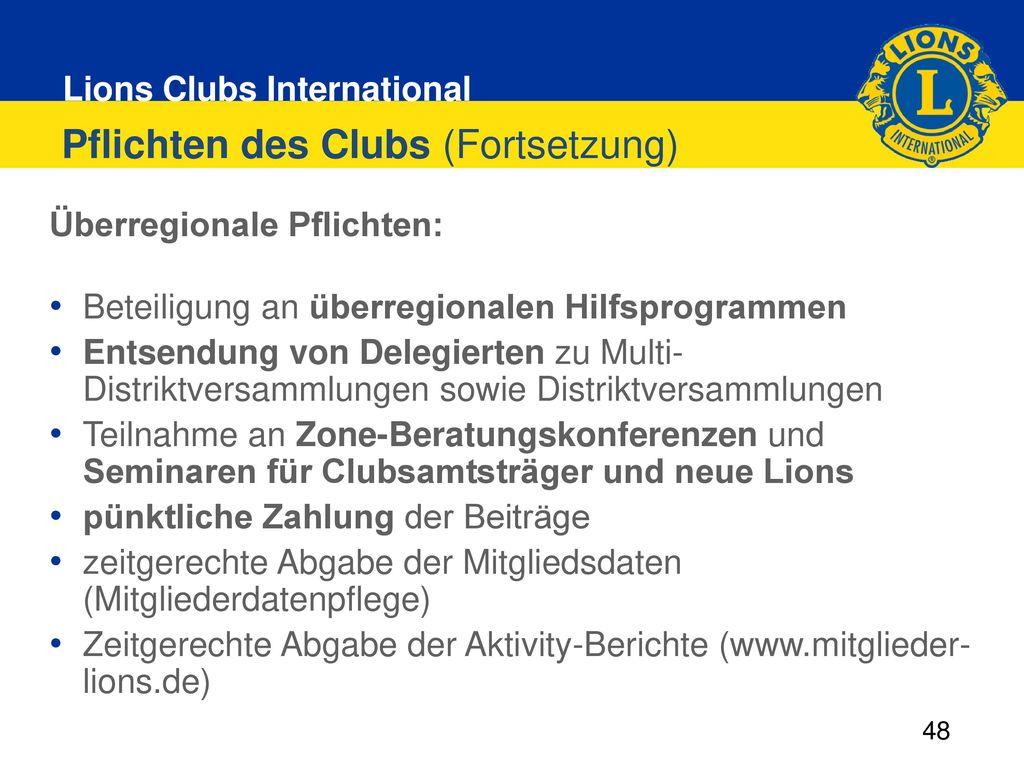 Pflichten des Clubs (Fortsetzung)
