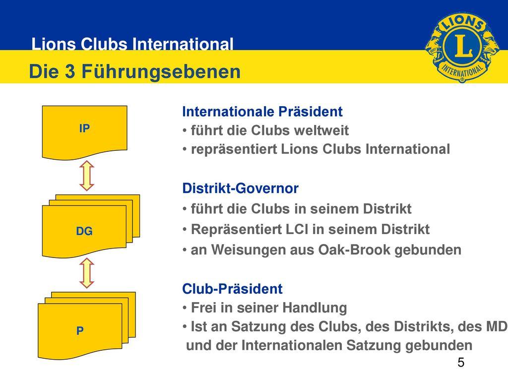 Die 3 Führungsebenen Internationale Präsident führt die Clubs weltweit