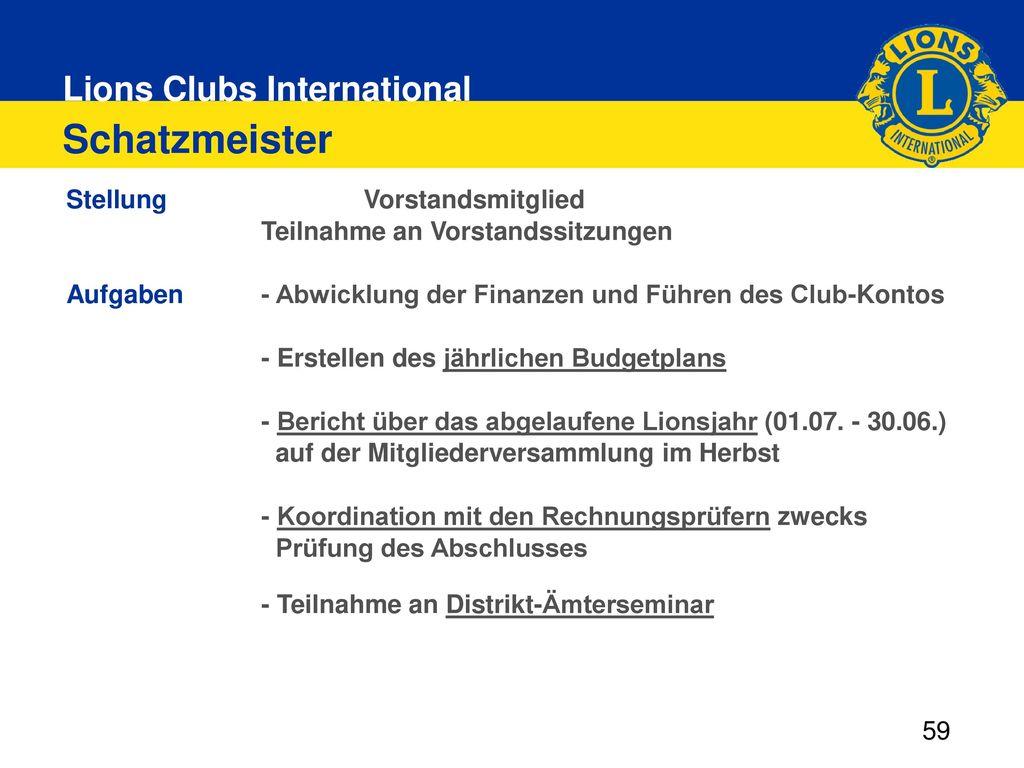 Schatzmeister Stellung Vorstandsmitglied