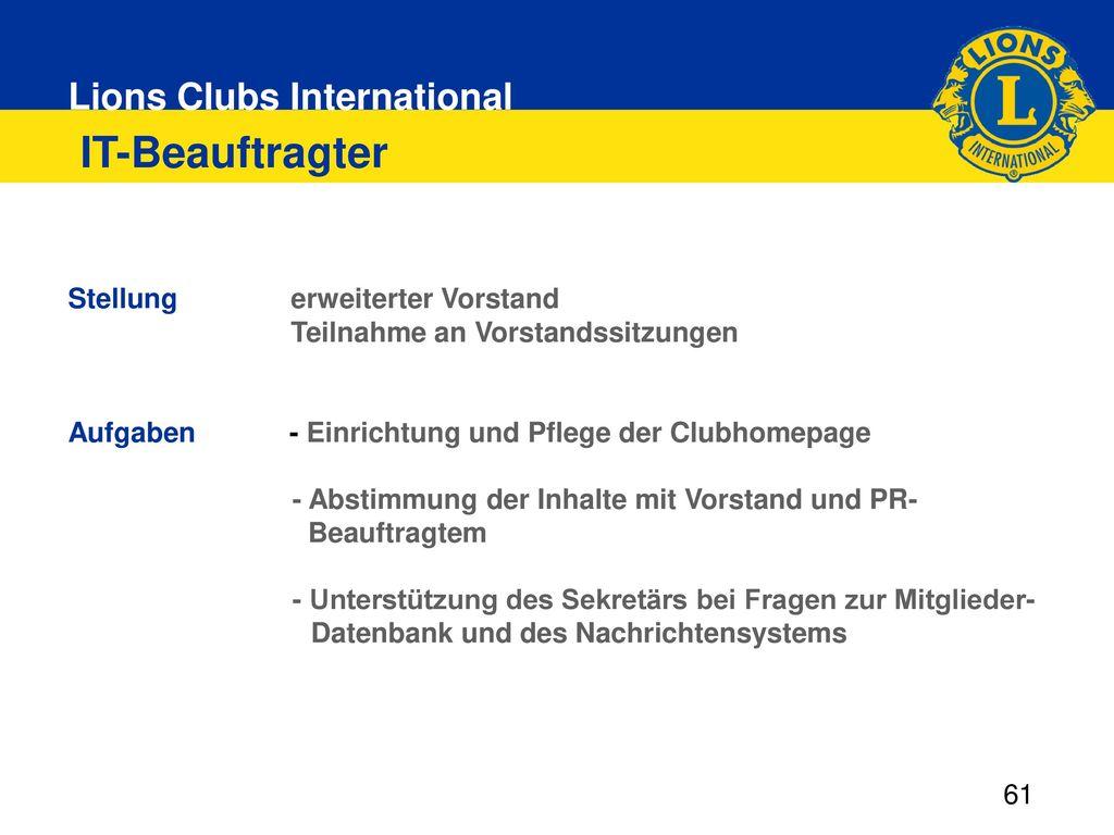IT-Beauftragter Stellung. erweiterter Vorstand