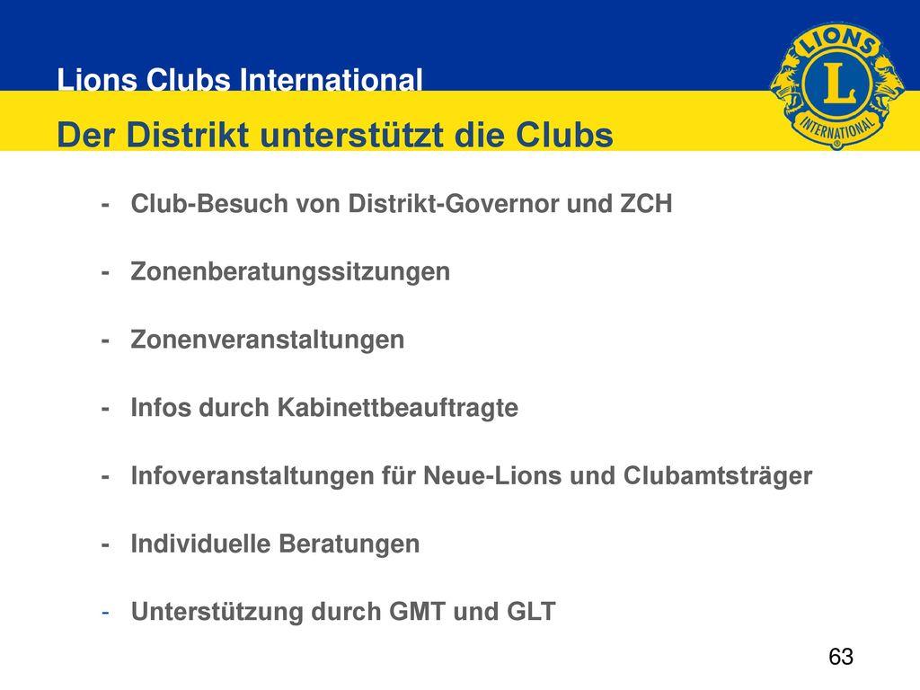 Der Distrikt unterstützt die Clubs