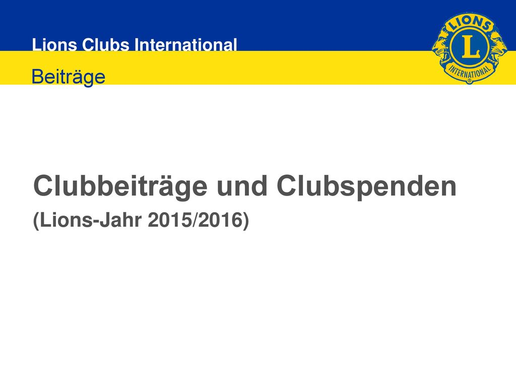 Clubbeiträge und Clubspenden