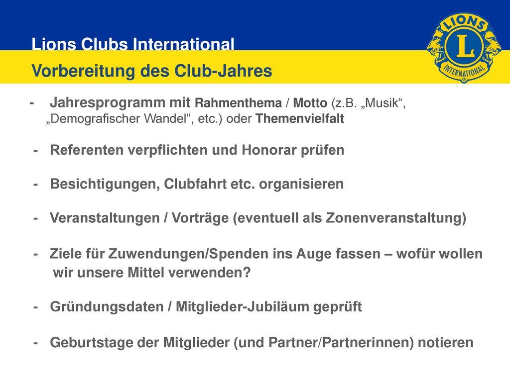 Vorbereitung des Club-Jahres