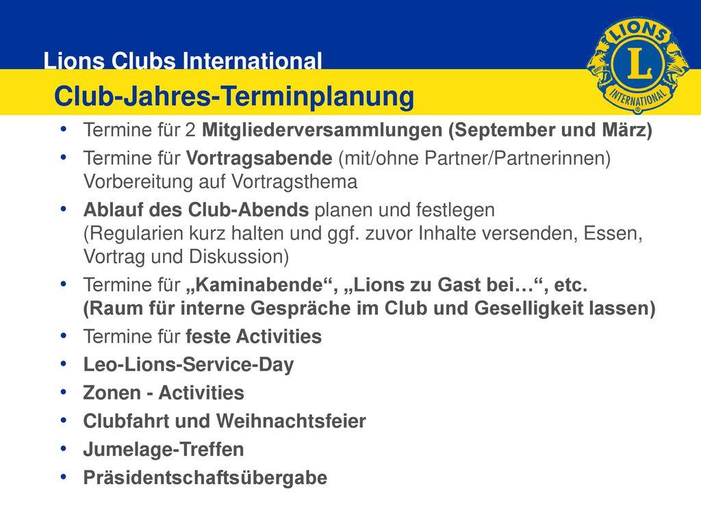 Club-Jahres-Terminplanung