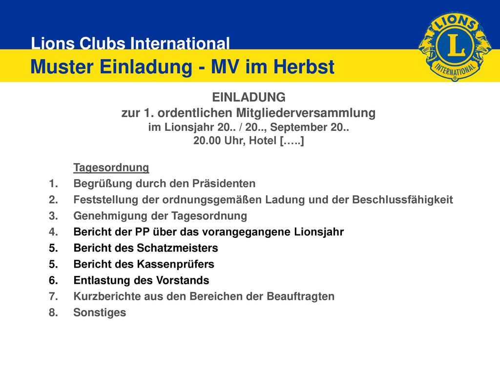 Muster Einladung - MV im Herbst
