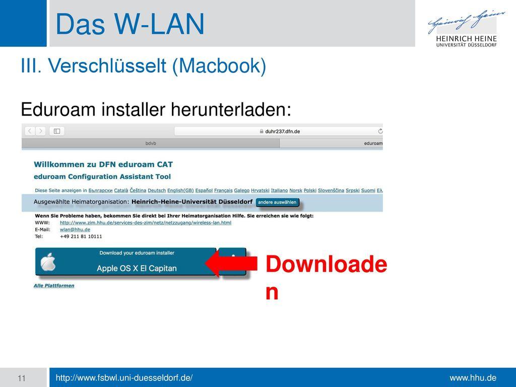 Das W-LAN Downloade n III. Verschlüsselt (Macbook)