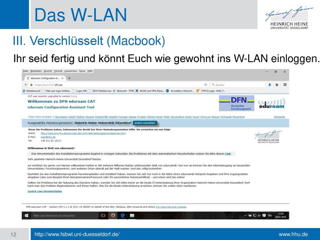 Das W-LAN III. Verschlüsselt (Macbook)