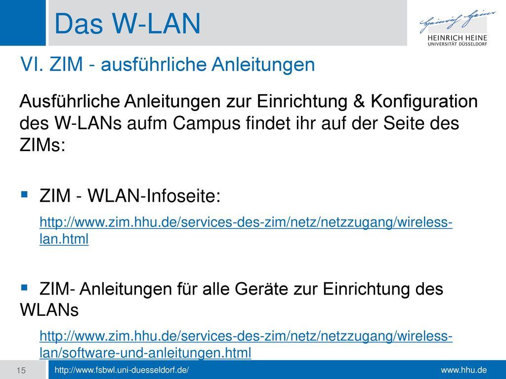 Das W-LAN VI. ZIM - ausführliche Anleitungen