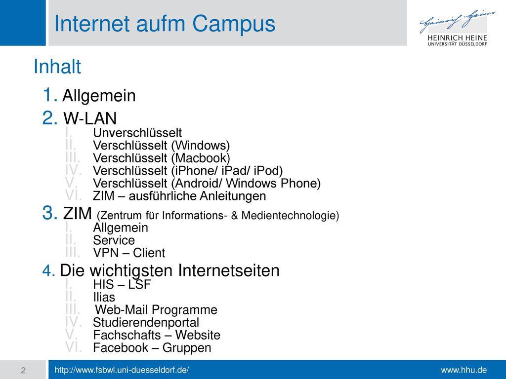 Internet aufm Campus Inhalt Allgemein W-LAN