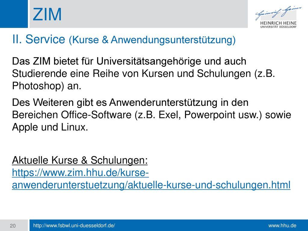 ZIM II. Service (Kurse & Anwendungsunterstützung)
