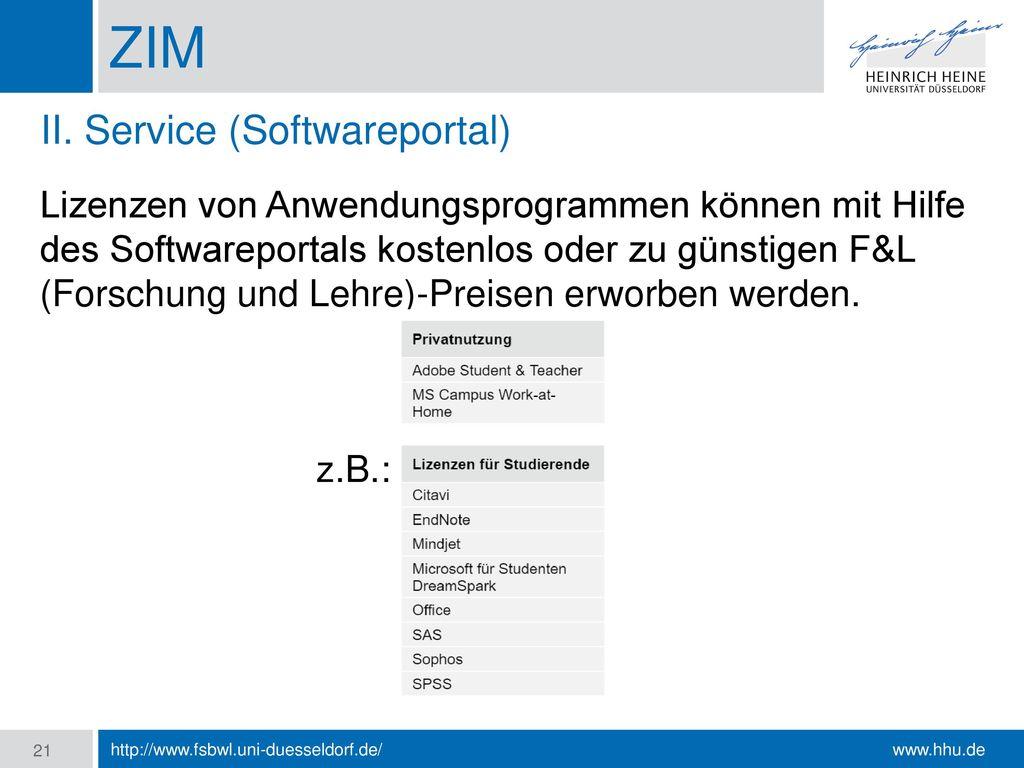 ZIM II. Service (Softwareportal)